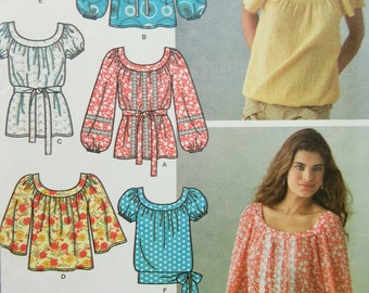 Simplicity 3887 Sewing Pattern, Peasant Tops, Top Patterns, Boho Top, Pullover Tops, Sleeve Variation, Bust 31.5 to 38, Uncut, Sewing Supply