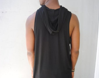 Mens Black Extended Tank / Curved Hem / Lightweight and Soft / Long Tank Top / Handmade by GAG THREADS