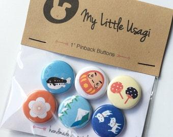 "Japan Pinback Buttons --- 1"" Pinback Button Set (6 Buttons)"