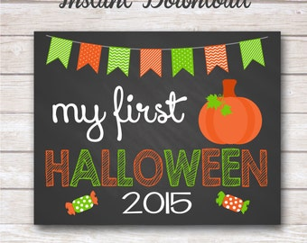 INSTANT DOWNLOAD - My First Halloween Chalkboard Poster Photo Prop 11x14