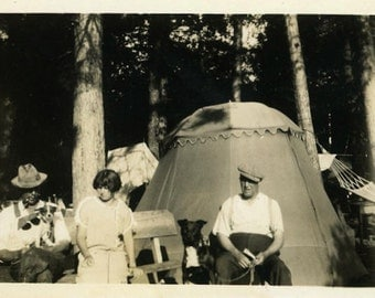 """Antique Photo """"Doggy Camp"""" Tent Camping Puppy Dog Forest Woodland Tree Woman Man Snapshot Nature Black & White Vintage Old Vernacular - 99"""