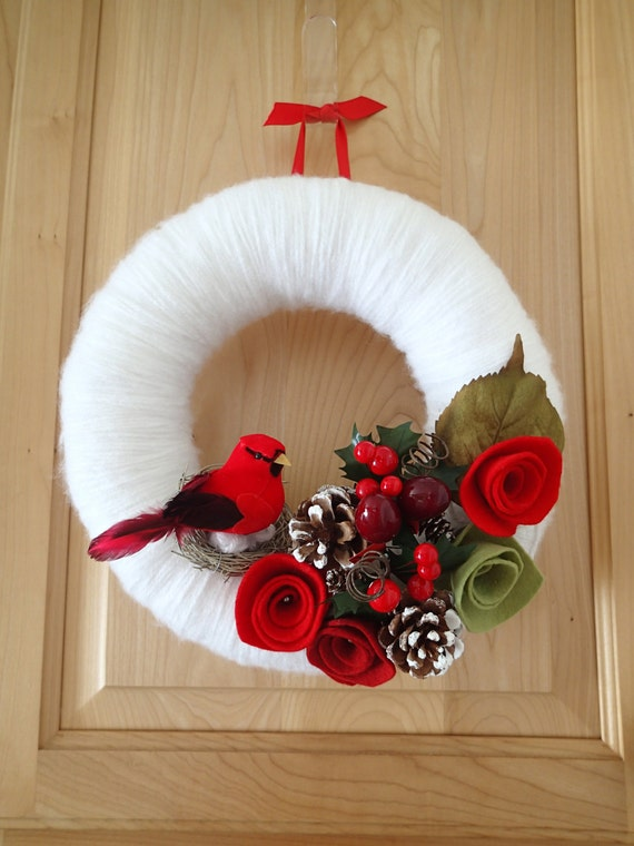 Winter white yarn wreath red cardinal wreath red felt roses