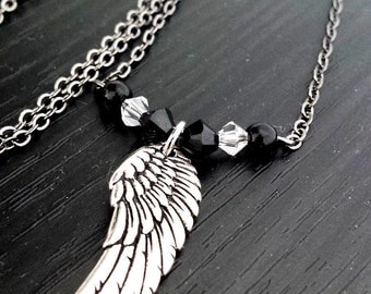 Small Antiqued Silver Angel wing with crystals - Petite Feminine Necklace