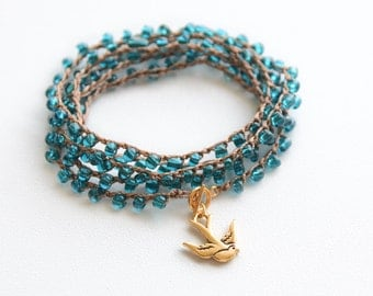 Swallow Crochet Wrap Bracelet Bird Beach Bracelet Friendship Bracelet Beaded Crochet Necklace Crochet Wrap Bracelet Boho Nautical Jewelry