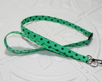 Lanyard - Breakaway Lanyard - ID Badge Lanyard - Key Lanyard - Id Lanyard - Teacher Gift - Kelly Green And Navy Polka Dots