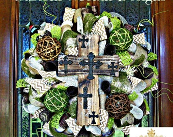Rustic Cross Wreath with Moss and Burlap