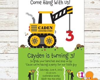 Crane, Construction, Truck, Birthday Party, Invitation, for kids