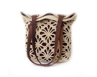 Crochet lace tote in tan colour with genuine leather handles, natural crochet bag, tan tote bag.,organic cotton bag, lacy bag, ecru bag