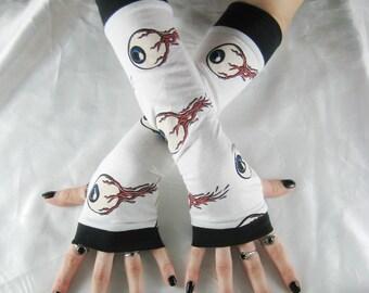 Eyeball Arm Warmers Fingerless gloves freaky horror living dead - Dark Carnival - halloween gothic blood gore glove eyeballs human anatomy