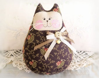 Cat  Doll 6 in. Free Standing Kitty, Autumn Fall Halloween Cat Decoration Doll Primitive Handmade CharlotteStyle Decorative
