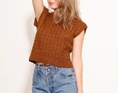 SALE 70s Cappuccino Short Sleeve Summer Sweater Cable Knit College Sweater size small - B3