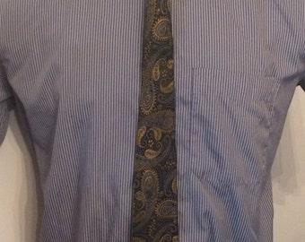 Vintage MENS blue & olive green paisley skinny tie, circa 50s-60s
