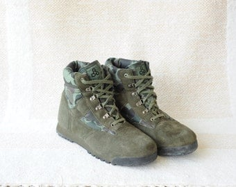 Vintage Pro-Line Military Green Suede Leather & Nylon Ankle Boots, Mens 12 / ITEM022