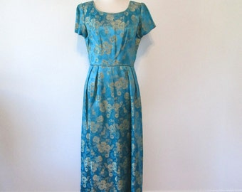 Vintage 1950's Brocade Maxi Gown Size Medium