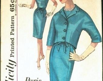 Great Uncut Vintage 1960s Simplicity 4934 Paris Fashion Slim Sheath Dress and Cropped Jacket Sewing Pattern B34