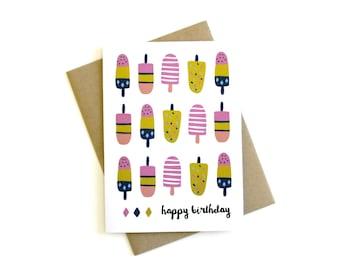Popsicle Birthday Card 'Happy Birthday' - Birthday Card, Birthday Greeting, Popsicle