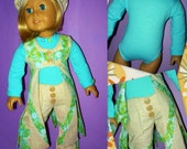 1970's Vest, Bellbottoms, Bodyshirt and Hat Fits American Girl Doll Julie