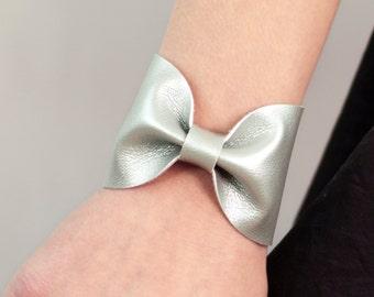 Silver Bow Bracelet, Bowtie Cuff Metallic, Vegan Leather Jewelry, Scarf Bow Tie Unique Girlfriend Wife Women, Bridal Wrist Tattoo Cover Up
