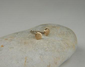 Rustic Gold Earrings 14K Gold Earrings Small Gold Studs Minimalist Gold Earrings Handmade Gold Jewelry