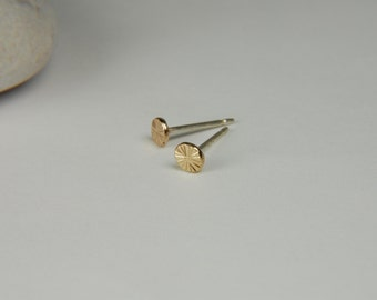 Textured Gold Earrings 3.5 mm 14K Gold Studs Rustic Gold Earrings Gold Stud Earrings Handmade Gold Earrings