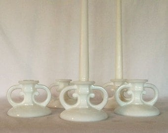 "Candle Stick Holder 15% discount 3 1/4"" Older White Glass Circa 30's"