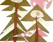 pink moon pines. OOAK collage