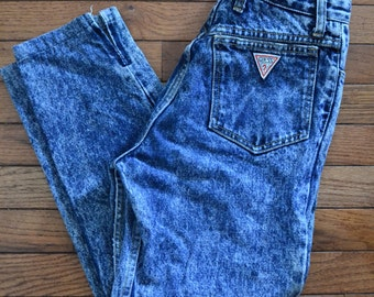 1980s Guess Acid Wash High Waisted Skinny Leg Jeans By Georges Marciano for Guess