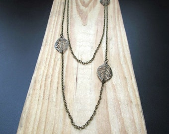 Long Layered Bronze Necklace - Leaf Charms on Dainty Bronze Chain - Fall Necklace