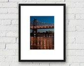 59th Street Queensboro Bridge at Night, New York NYC: 5x7 Matted Photo