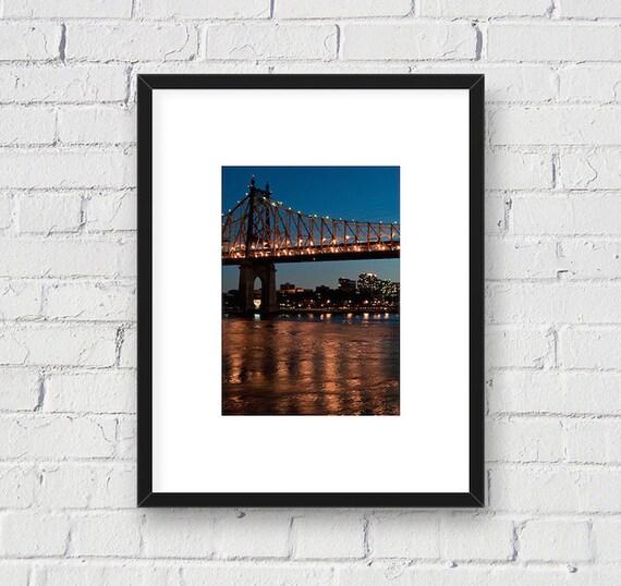 59th Street Queensboro Bridge at Night, New York NYC: 5x7 Matted Photo