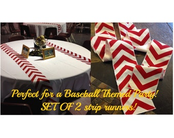 "Best Selling Items - Baseball Party Themed Red Chevron Modern Table Runner Set of 2 4"" wide - your choice of length Chevron - Party runners"