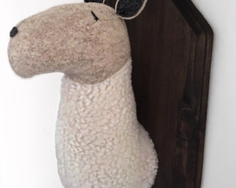 Faux Taxidermy Llama Head
