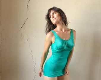 60s emerald green swimsuit/ one piece// size small