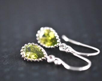 Peridot Green Drop Earrings / Small Light Green Crystal Earrings / Aldari Jewelry Designs