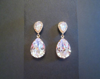 NEW Large Rose Gold Crystal Earrings/Rose Gold Swarovski Bridesmaid Jewelry Set/Swarovski Earrings/Wedding /Rose Gold Bridesmaid Earrings