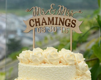 Personalized Last Name Wedding Cake Topper, Custom Linden Wood Mr and Mrs Cake Topper, Personalized with YOUR Last Name #105