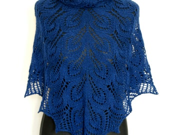Scarf  Lace Shawl  Navy Blue Baby Alpaca Silk Hand Knitted Shawlette. MADE TO ORDER