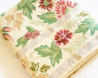 Vintage Romantic Home Celadon Green, Heirloom White, and Pomegranate Red Floral Embroidered Petite Point Rug, Olives and Doves