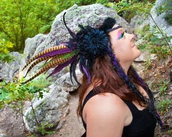 Dark Fairy Goddess Feather Headdress, Flower Headdress, Burningman, Tribal Headdress, Gothic, Festival, Beaded Headdress, Steampunk