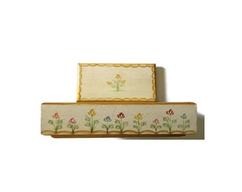 1980s Vintage Hand Painted Rectangular Wood Box with Lid