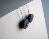 Black paper earrings • First anniversary gift for wife • Upcycled handmade newspaper jewelry • Free shipping