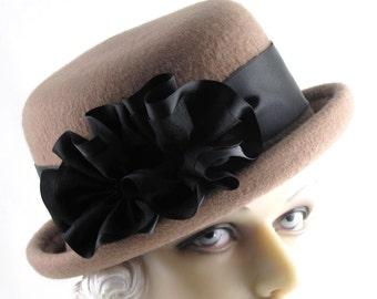 Womens Hat Camel Cashmere Bowler Fedora Cloche Handmade Hat Derby Ascot Races Rose Church Hat Bride Art Deco Custom Made for Each Client