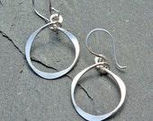 Hammered Silver Earrings, Hammered Hoops, Silver Circle, Silver Hoop Dangle Earrings - Sterling Silver Dangle, Modern Hammered Oval Earrings