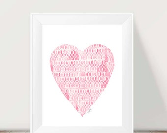 Nursery Wall Art, Pink and White Art, 11x14 Nursery Print, Pink Heart Painting, Pink Nursery Decor, Pink Nursery Art, Heart Print