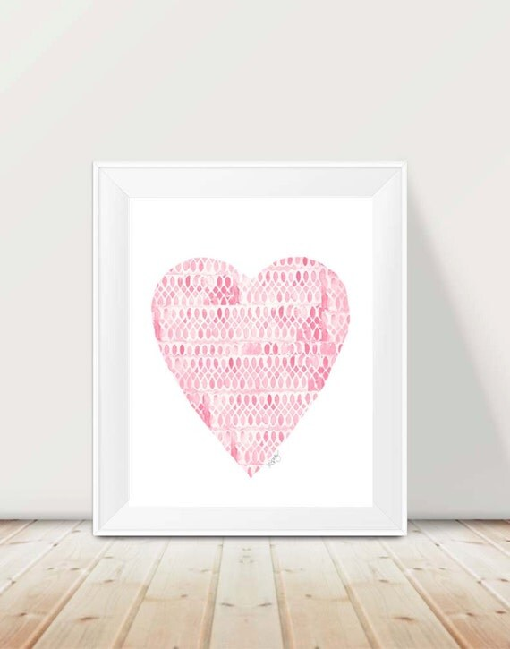 Large Pink Heart Print for Girls Room, 11x14
