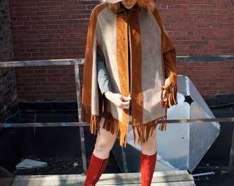 WOODSTOCK 1960's Fringed Suede Poncho, Striped Grey & Brown with Floral Eyelets