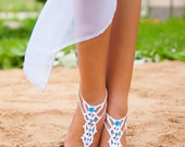 Barefoot sandals wedding Bridal Foot accessory Beach wedding White and Blue Barefoot Sandals Bridal wedding accessory Footless sandals Shoes