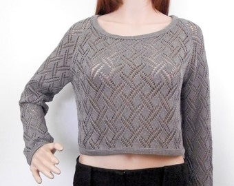 Knit cotton cropped pullover - knit crop top - summer crop top - knit crop pullover - crop pullover - women knitwear - grey top - lace  top