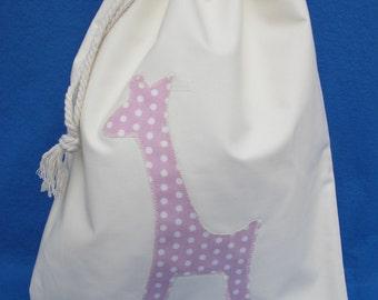 Giraffe Cotton Sack (Pink & Blue), Nappy Sack, Diaper Bag, Nursery Bag, Pyjama Bag, Cotton Draw String Bag, Drawstring Bag, Kiddies Bag