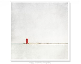 Red Lighthouse Photograph, Housewarming Gift, Art Print, Poolbeg Lighthouse Decor, Red Nautical Photograph, Wall Art, Dublin